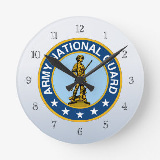 Army National Guard Military Logo Round Clock