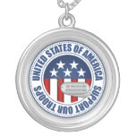 Army National Guard Round Pendant Necklace