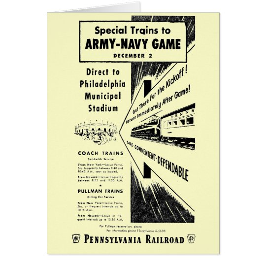 Army-Navy Game Via The Pennsylvania Railroad Card