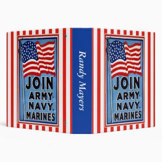 Army Navy Marines 3 Ring Binder