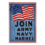 Army Navy Marines~Vintage World War Posters