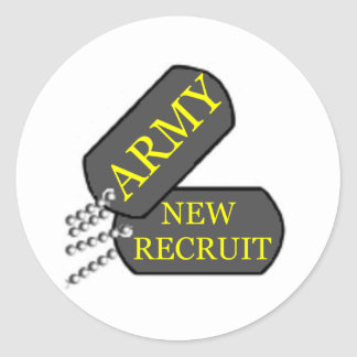 Army New Recruit Classic Round Sticker