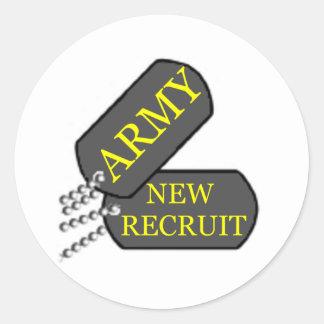 Army New Recruit Classic Round Sticker