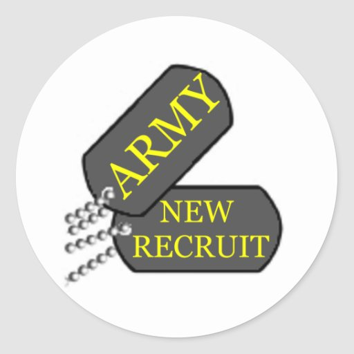 Army New Recruit Round Stickers