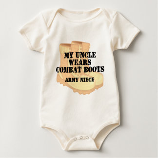 Army Niece Uncle Desert Combat Boots Baby Bodysuit