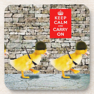 Army of Cute Duckling Soldiers! Beverage Coaster