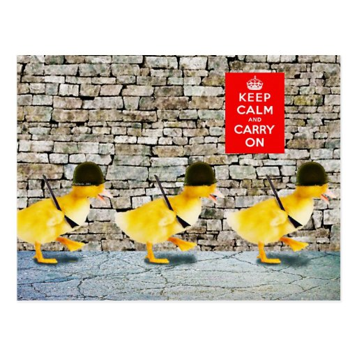Army of Cute Duckling Soldiers Postcard