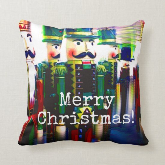Army of Nutcrackers Seasonal Christmas Holiday Throw Pillow
