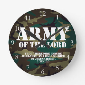 Army of the Lord, Bible Scripture Camo Round Clock