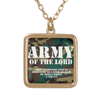 Army of the Lord, Bible Scripture Camo Square Pendant Necklace