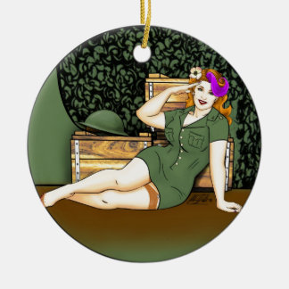 Army Pin-Up Ceramic Ornament