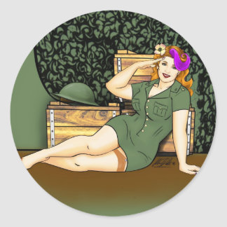 Army Pin-Up Classic Round Sticker