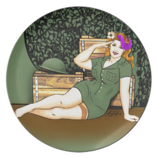Army Pin-Up Dinner Plate