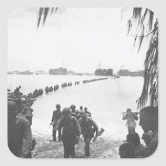 Army reinforcements disembarking from_War Image Square Sticker