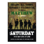 Army Rustic Camouflage Soldiers Kids Birthday Card<br><div class='desc'>Personalized kids army birthday invitations with a rustic camouflage background and a silhouette of soldiers and military font,  customize the details on the right side of the screen with your own information.</div>