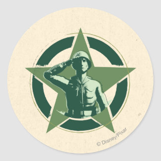Army Sarge Salutes Classic Round Sticker