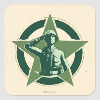 Army Sarge Salutes Square Sticker