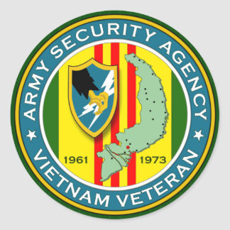Army Security Agency Vietnam Veteran Classic Round Sticker