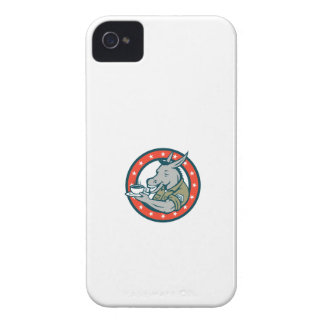 Army Sergeant Donkey Coffee Circle Cartoon iPhone 4 Case