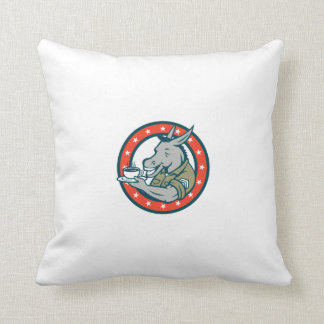 Army Sergeant Donkey Coffee Circle Cartoon Throw Pillow