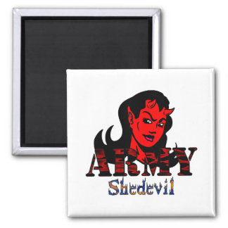 Army She-Devil 2 Inch Square Magnet