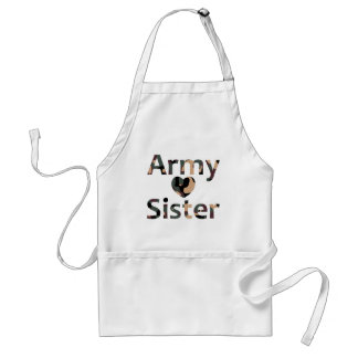 Army Sister Heart Camo Aprons