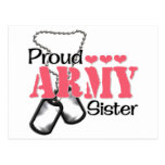 Army Sister Hearts Postcard