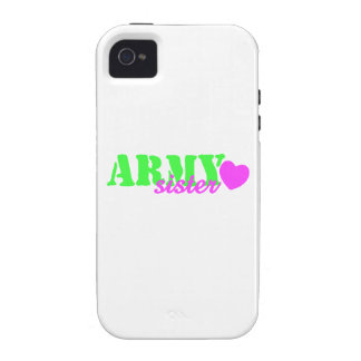 Army Sister Lime Green Pink Heart iPhone 4/4S Cover