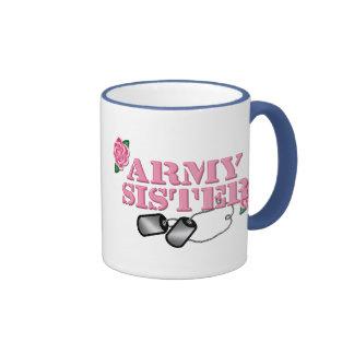 Army Sister Pink Roses N Dog Tags Mugs