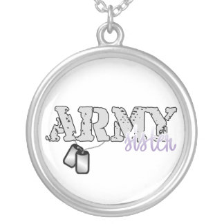 Army Sister Round Pendant Necklace