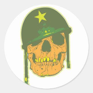 Army Skull Classic Round Sticker