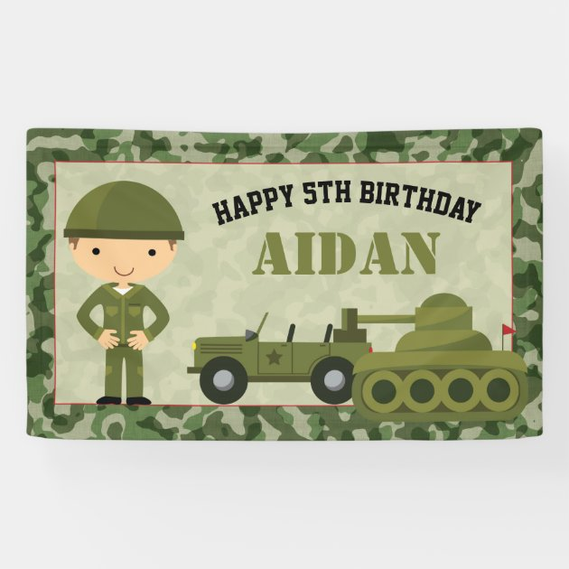 Soldier Army 18th Birthday Banner x2 Party Decorations Personalised ANY NAME