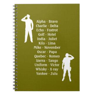 Army Soldier Phonetic Alphabet Cadet School Notebook