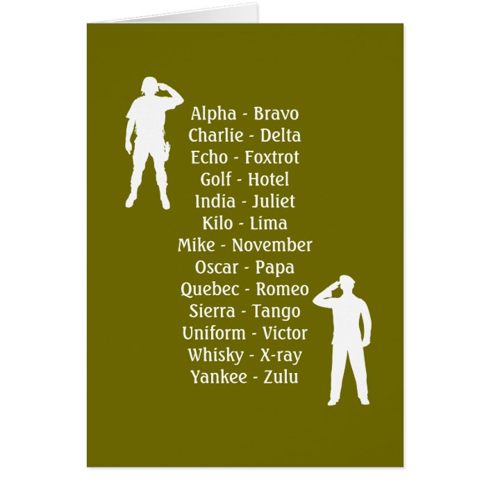 Army Soldier Phonetic Alphabet Rookie Military Job Zazzle Com