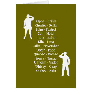 Zulu cards greeting photo cards zazzle army soldier phonetic alphabet rookie military job card stopboris Gallery