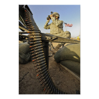Army soldier scouts for enemy activity poster