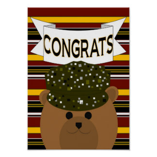 Army Soldier with Congratulations Banner Poster