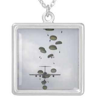 Army Soldiers jump out of a C-17 Globemaster II Silver Plated Necklace