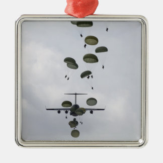 Army Soldiers jump out of a C-17 Globemaster II Square Metal Christmas Ornament