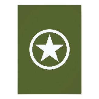 Army Star 5x7 Paper Invitation Card