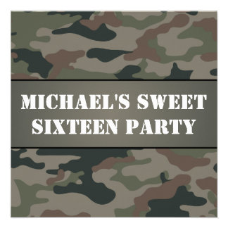 Army Style Sweet 16 Birthday Party Invitation Personalized Invitations