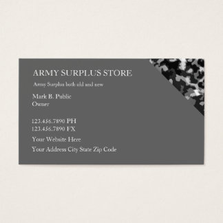 Army Surplus Retail Store Business Card