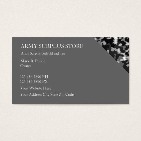 Army Surplus Retail Business Card
