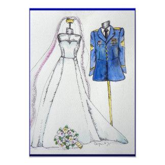 Army uniform and wedding dress card