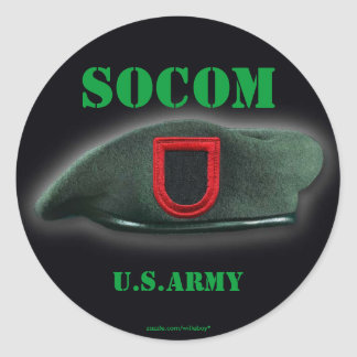 army usasoc Special ops veterans vets patch Classic Round Sticker