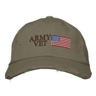 Army Vet with American Flag Embroidered Hat