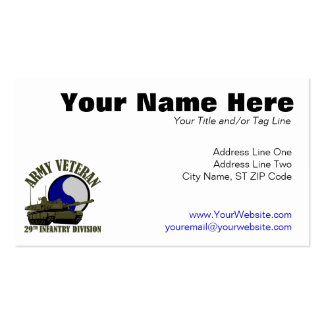 Army Veteran - 29th ID Tank Business Cards