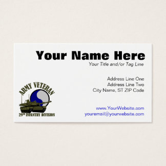 Army Veteran - 29th ID Tank Business Card