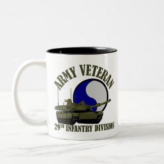 Army Veteran - 29th ID Tank Two-Tone Coffee Mug