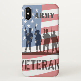 Army Veteran w/ American Flag & Soldiers iPhone X Case